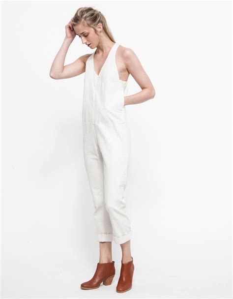white denim jumpsuit comey buxton jumpsuit in white denim in white lyst