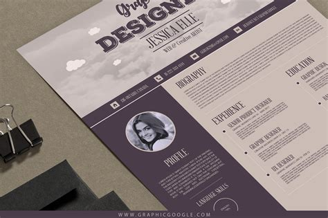 Vintage Resume Template by Free Creative Vintage Resume Design Template For Designers