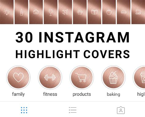 instagram highlight icons rose gold mimosa designs