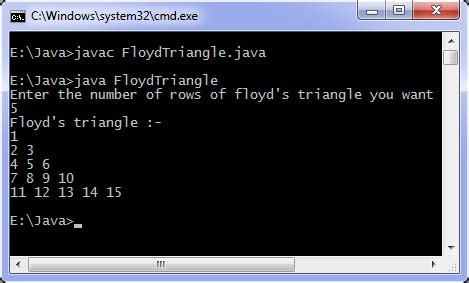 java program  print floyds triangle programming