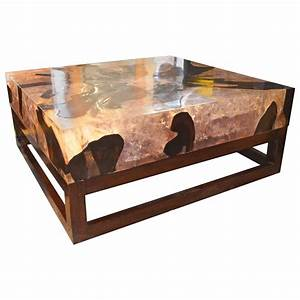 Cracked resin coffee table for sale at 1stdibs for Wood and resin coffee table