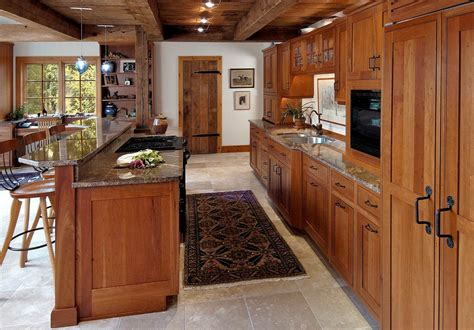 Natural Cherry Kitchen Cabinets Kitchen Craftsman With Self Stick Kitchen Backsplash Tiles Island Countertops Custom Backsplashes For Kitchens Diy Wooden How To Cut Countertop Metal Best Color Combinations
