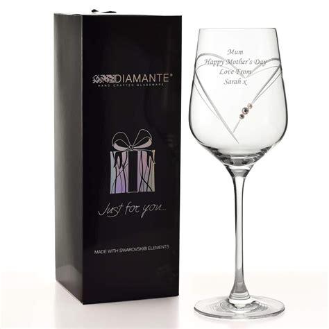 engraved swarovski heart wine glass personalised