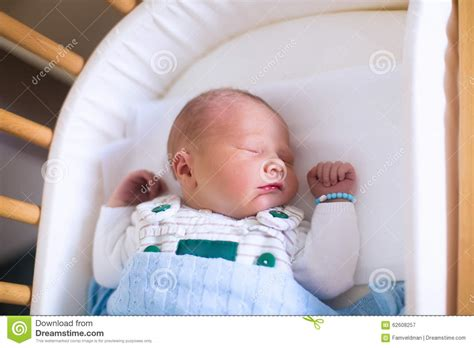 Newborn Baby Boy In Hosptal Cot Stock Image Image 62608257