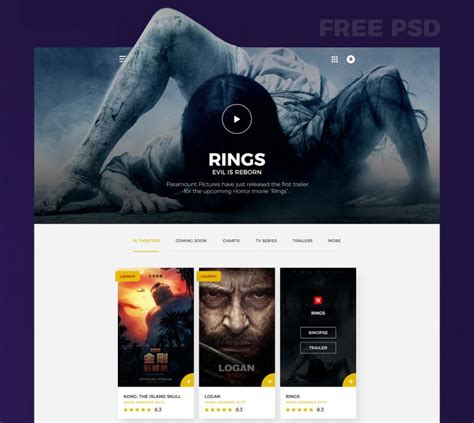 trailer ratings psd template movies website template free psd download psd