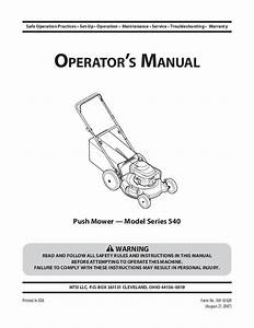 Mtd 540 Series Push Lawn Mower Owners Manual