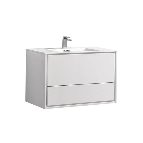 Modern Bathroom Vanity White by De Lusso 36 Quot High Gloss White Wall Mount Modern Bathroom