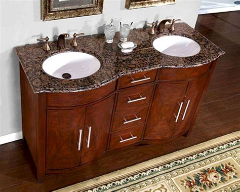 silkroad  double bathroom vanity brown granite top