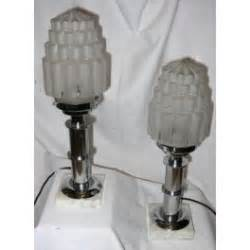 pair  art deco chrome cylinder table lamps  marble