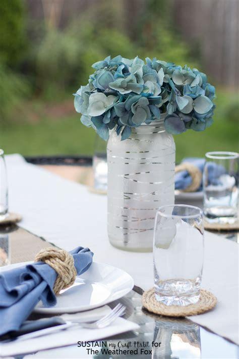 summer centerpiece idea frosted glass jar lantern the