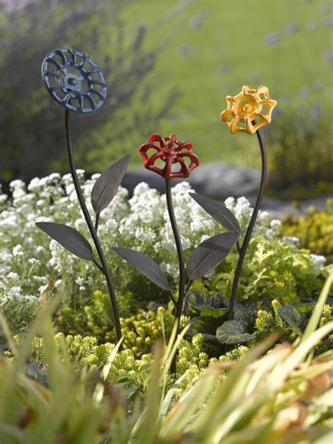 faucet handle flowers metal garden art gardeners supply