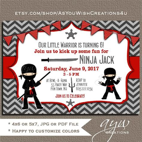 ninja birthday party invitation ninja warrior birthday