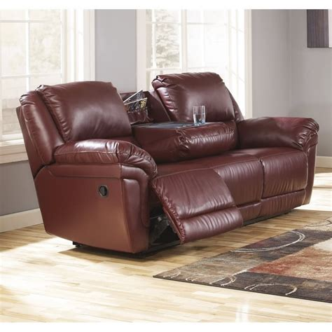 reclining sofa with drop down table ashley magician leather reclining sofa with drop down