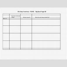 4th Step Worksheet From The Big Book Of Aa  Recovery  Aa Steps, Worksheets, Diagram