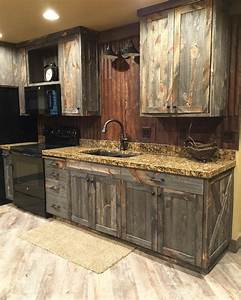 A little barnwood kitchen cabinets and corrugated steel for Barn wood style kitchen cabinets