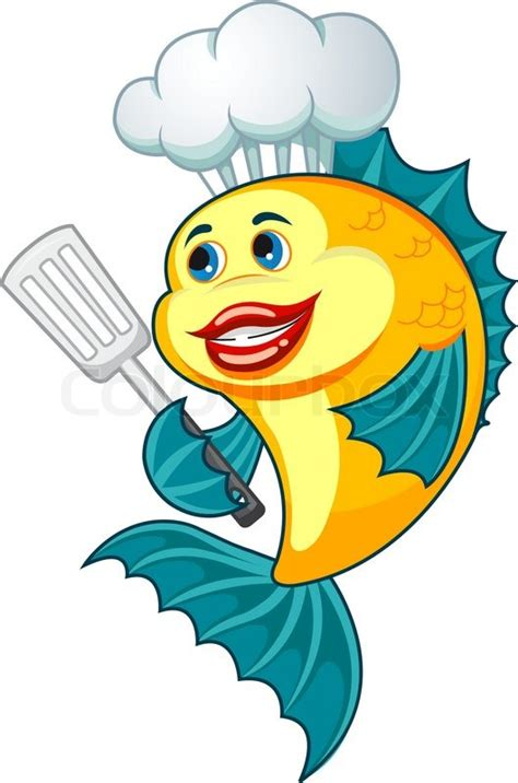 cartoon cook fish  dishware  cooking concept