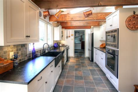 Galley White Country Kitchen   Traditional   Kitchen