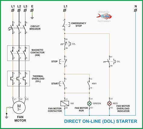 dol starter panel wiring diagram save start stop  motor