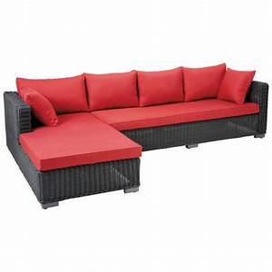 canape d39angle de jardin 4 places en resine tressee noire With tapis de couloir avec canape resine tressée 3 places