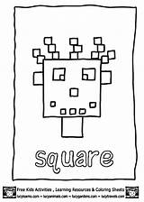 Square Coloring Pages Shapes Preschool Shape Worksheets Activities Print Learning Squares Printable Blocks Funnycrafts Getcoloringpages sketch template
