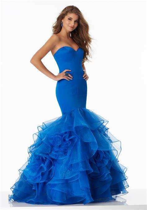 mermaid prom dress  ruffled organza skirt style