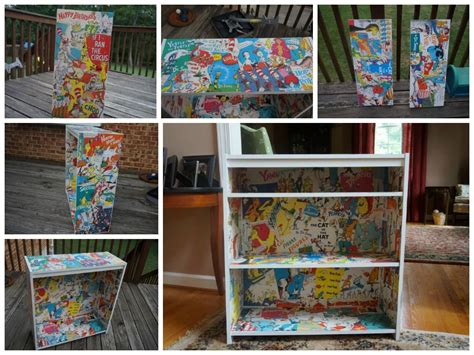 Dr. Suess Bookshelf I Made With Modge Podge And A Bunch Of