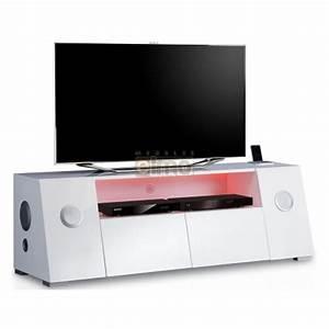 Meuble Tv Lumineux : meuble tv contemporain audio lumineux 2 tiroirs bianca ~ Teatrodelosmanantiales.com Idées de Décoration