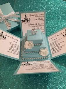 tiffany blue exploding box w square cake diy kit jinkys With wedding invitation in a box diy