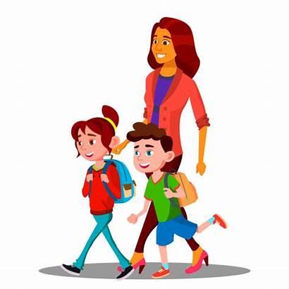 Walking Children Mother Mom Cartoon Illustration Vector