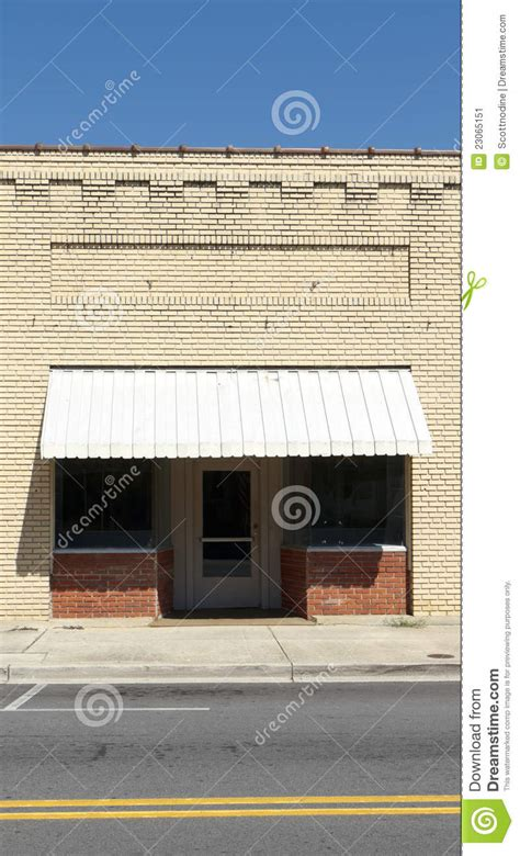 empty generic brick storefront downtown stock image