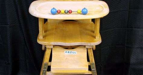 kroll furniture vintage collapsible kroll wood childs high chair wooden