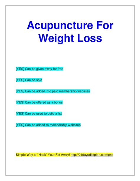 Acupressure Points For Weight Loss Chart