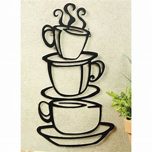 coffee house cup java silhouette wall art metal mug With metal wall decorations