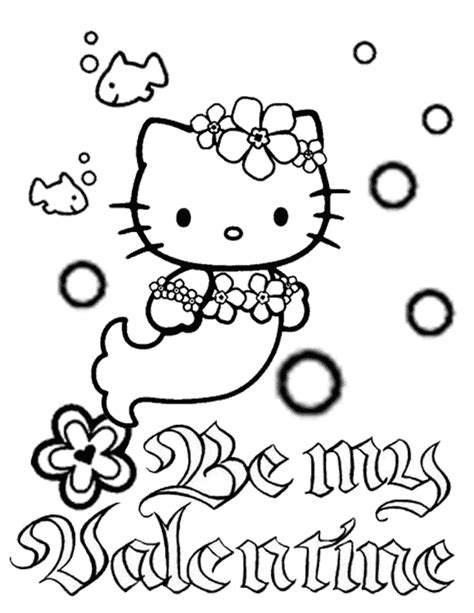 kitty mermaid bubbles  flower valentines coloring