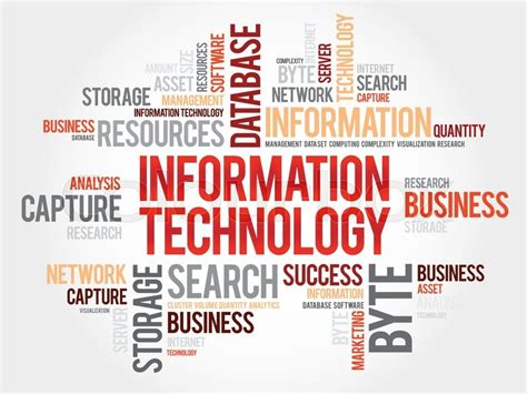 information technology word cloud stock vector