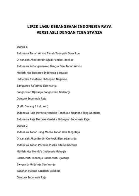 lagu indonesia raya not balok lirik lagu kebangsaan indonesia raya