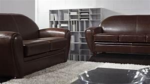 salon cuir vintage canap places fixe cuir marron vintage With tapis champ de fleurs avec canapé cuir marron vieilli