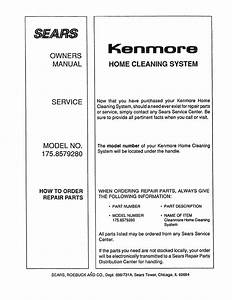 Kenmore 1758579280 User Manual Home Cleaning System