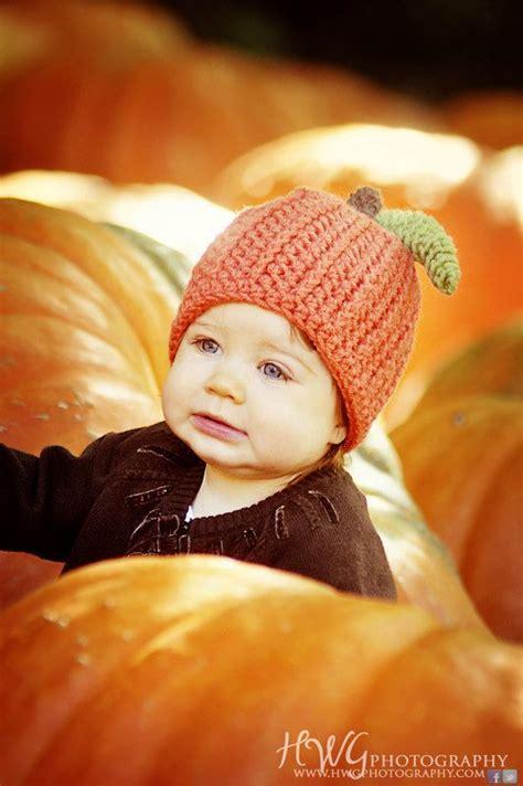baby pumpkin beanie hat  orange  brown stem green