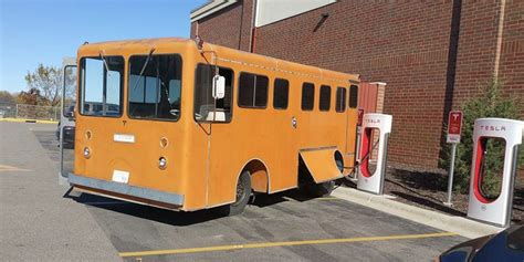 Tesla-powered electric bus project spotted charging at a ...