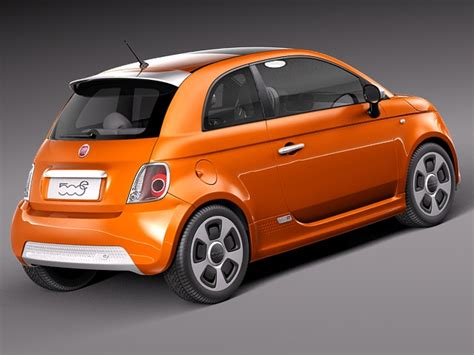 Fiat 2014 Models by Fiat 500e 2014 3d Model Max Obj 3ds Fbx C4d Lwo Lw