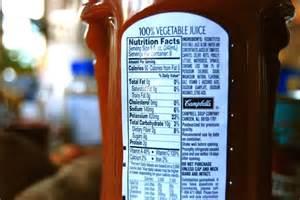 Low-Sodium V8 Juice Nutrition Facts Label