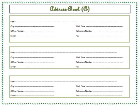 address book template address book template record your important addresses