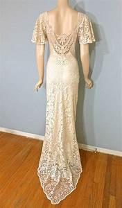 vintage cutwork lace crochet wedding dress victorian With crochet lace wedding dress