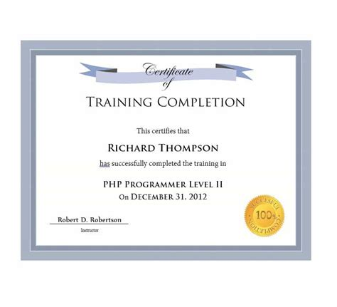 certificate  completion template blue border editable