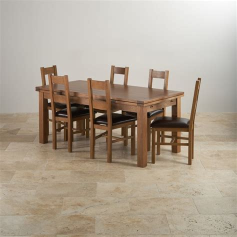 solid oak table and chairs rustic oak dining set 6ft table with 6 chairs