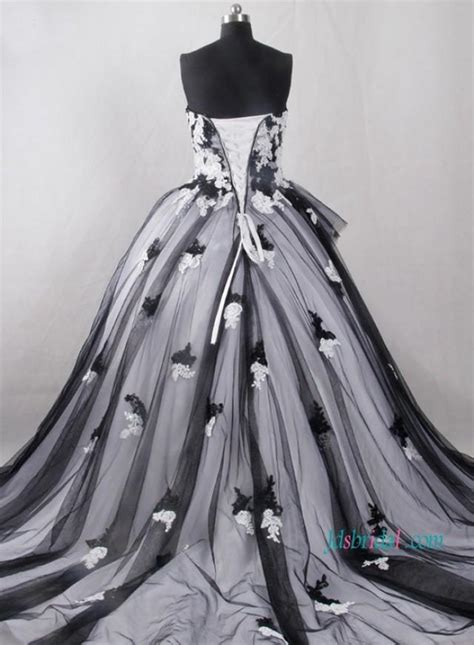 Vintage Inspired Black And White Ball Gown Wedding Dress