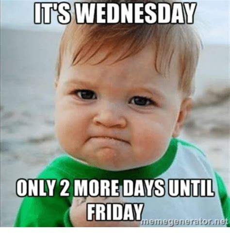 Wednesday Meme - it s wednesday only 2 more days until friday wednesday meme picsmine