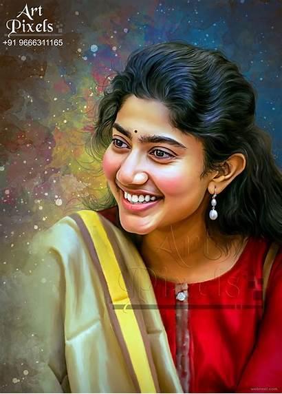 Sai Pallavi Painting Actress Portrait Wallpapers Indian
