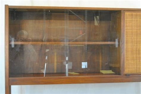 mid century danish modern rosewood china cabinet with cane
